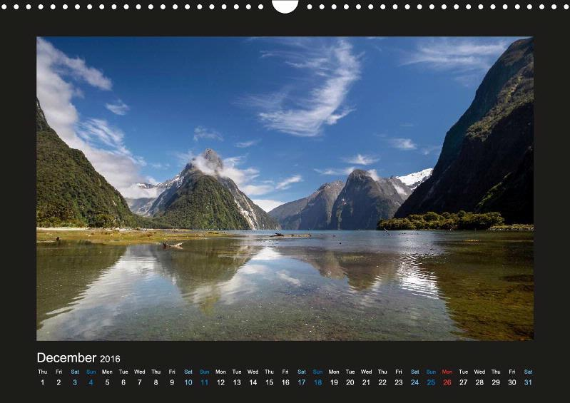 Calendar New Zealand The Most Beautiful Places 2018
